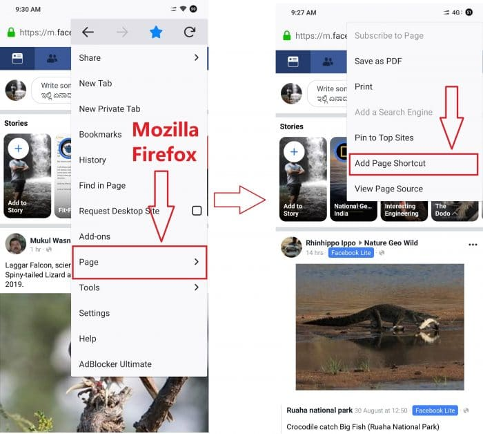 add FB to home screen in mobile Firefox