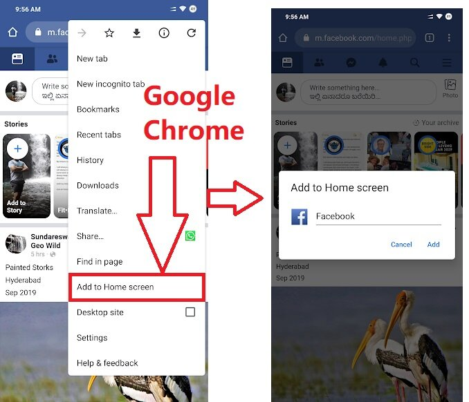 add facebook to home screen in mobile Google chrome