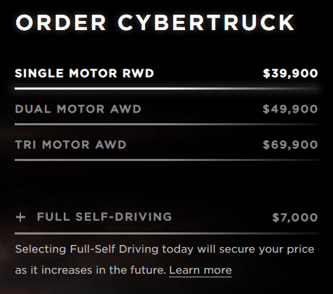 cyber truck pricing strategy