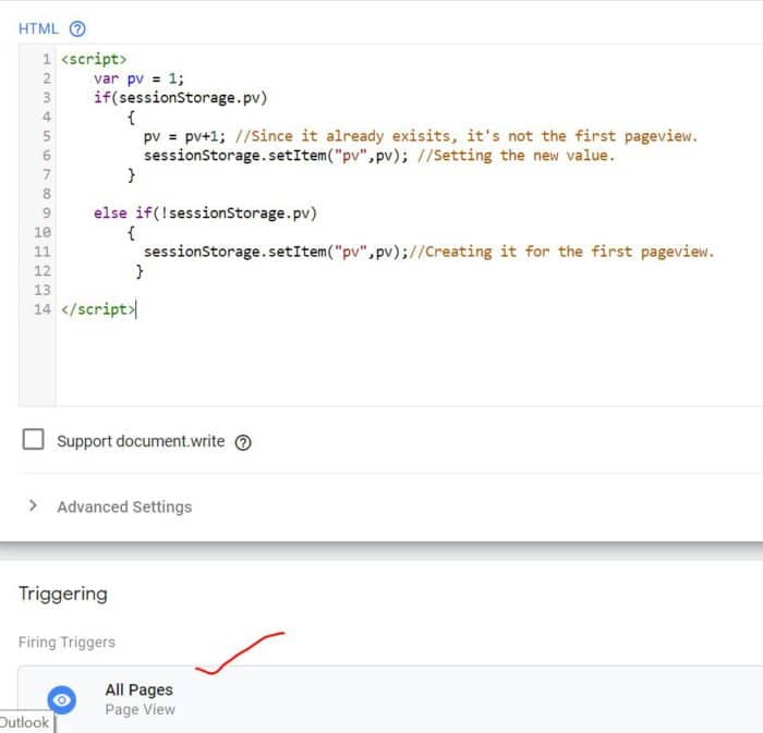 Create a GTM tag to fire tag once per visit