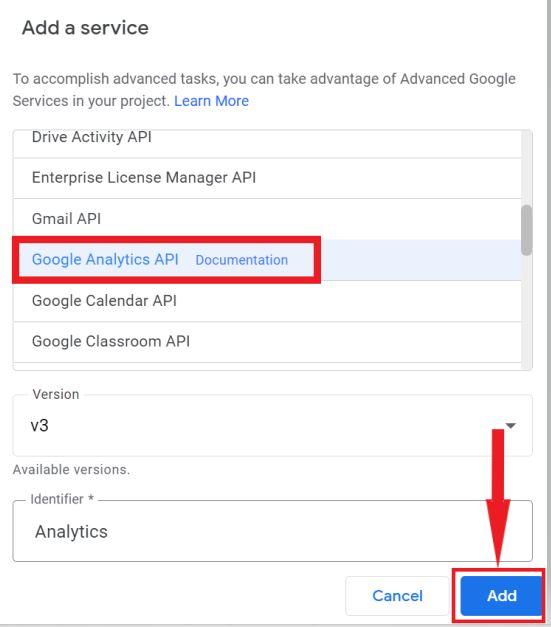 Add Google Analytics API Service